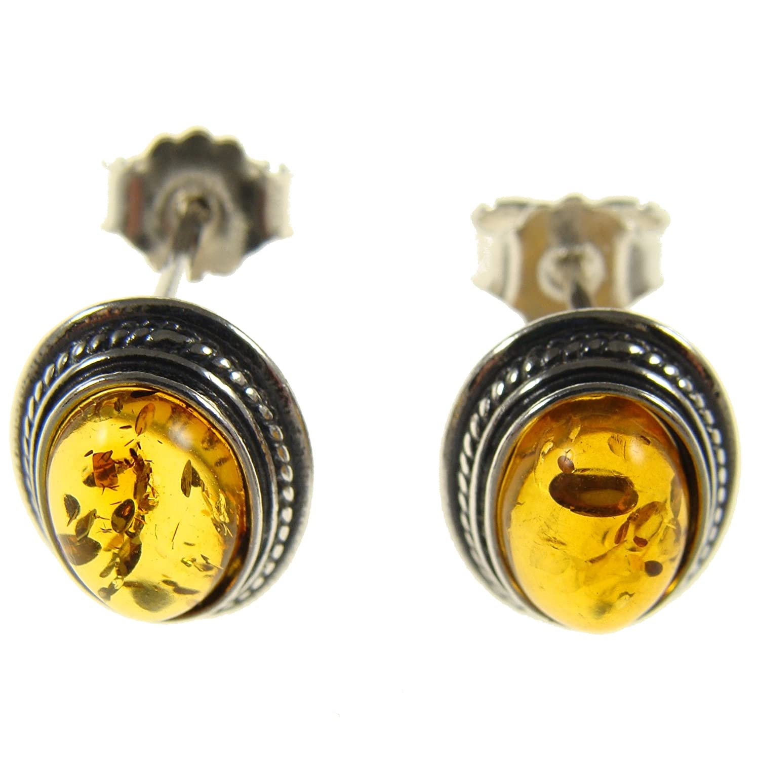 BALTIC AMBER AND STERLING SILVER 925 DESIGNER COGNAC STUD EARRINGS JEWELLERY JEWELRY
