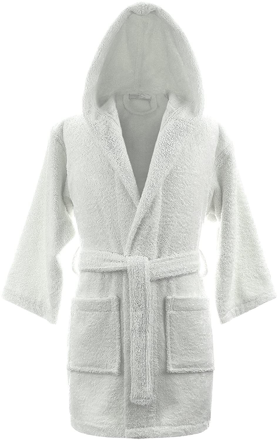 Kids Girls Boys Hooded Bathrobes Dressing Gowns - 100% Egyptian Cotton Luxury and Super Soft Unisex - Age 8 - 14 by A & B Traders ®