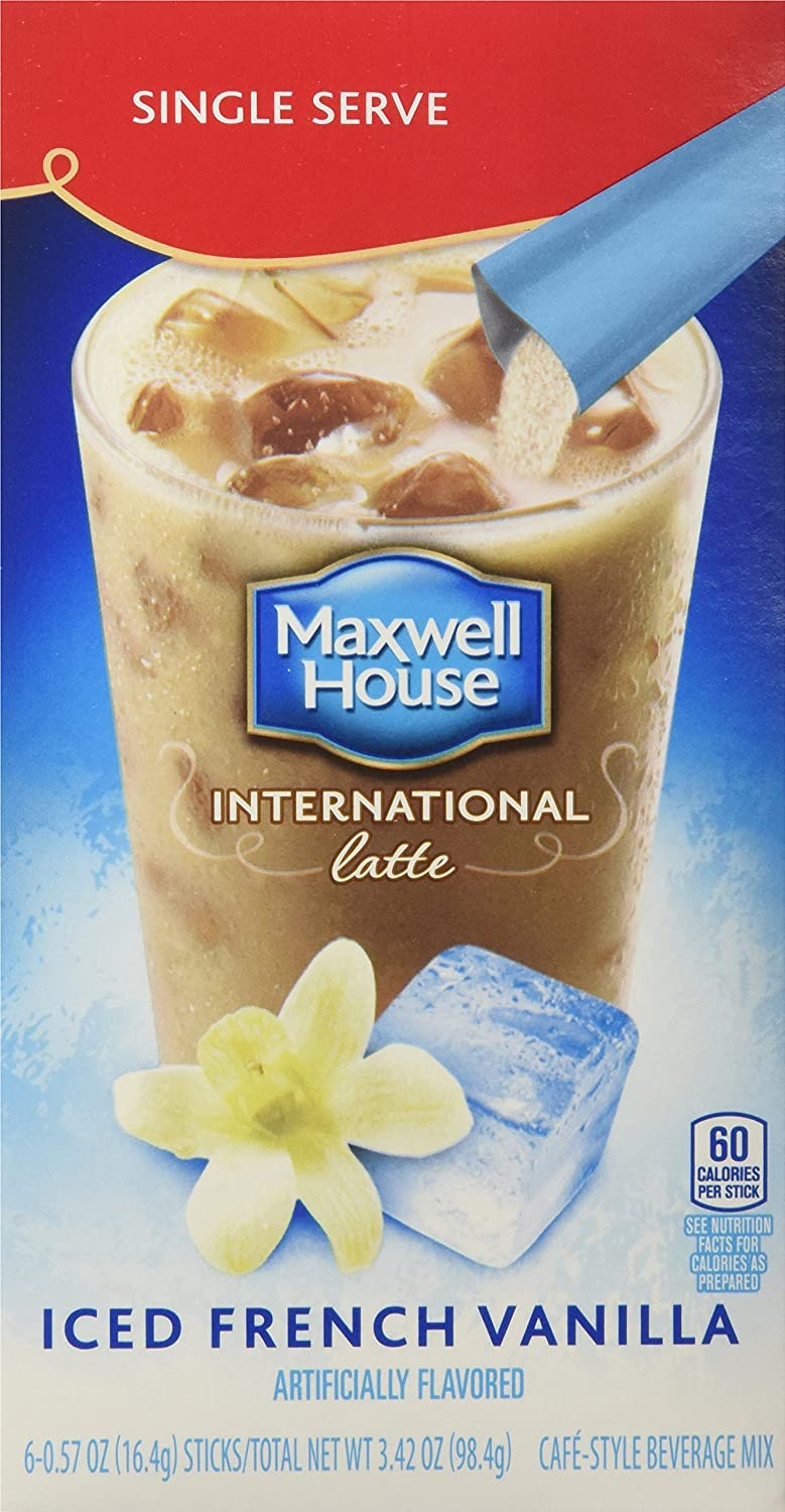 Maxwell House International Coffee French Vanilla Iced Latte Singles, 3.42-Ounce 2 Boxes (Pack of 8)
