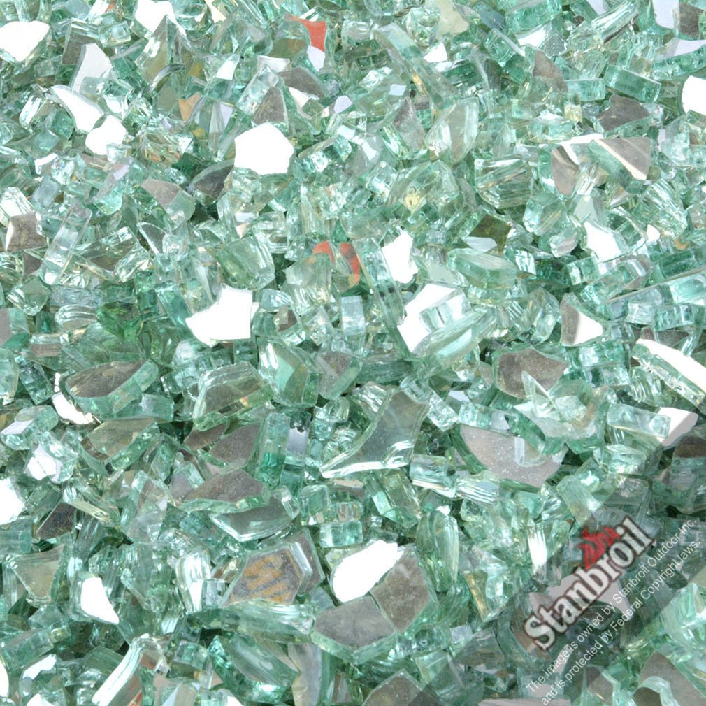 Stanbroil 10-Pound 1/4 Inch Fire Glass for Fireplace Fire Pit Light Green Reflective by Stanbroil