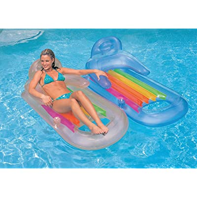 Intex King Kool Lounge Floating Swimming Pool Lounger with Headrest & Cupholder: Toys & Games