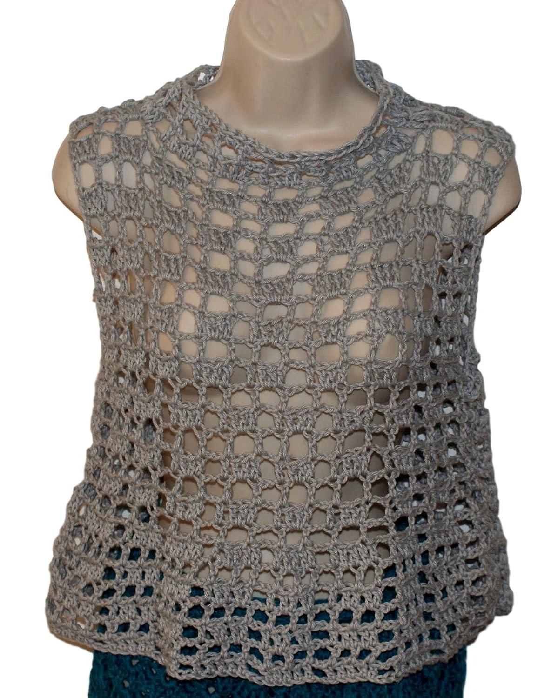6ded41ccae5 Amazon.com  Gray Cotton Crochet Plus Size Womans Top