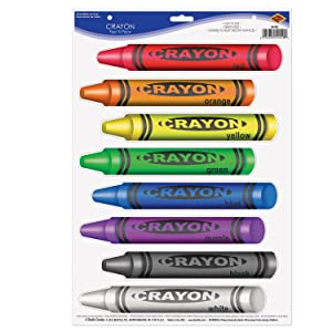 Beistle 54440 Crayons Peel 'N Place Sheet, 12 by 17-Inch
