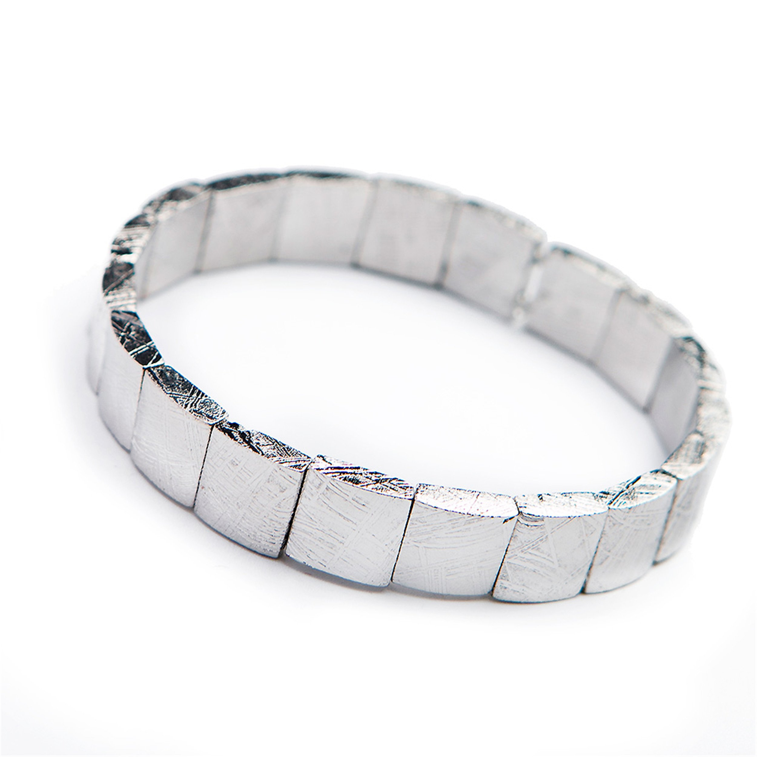 LiZiFang Natural Gibeon Iron Meteorite Rectangle Bead Women Mens Bracelet Bangle 11×4mm