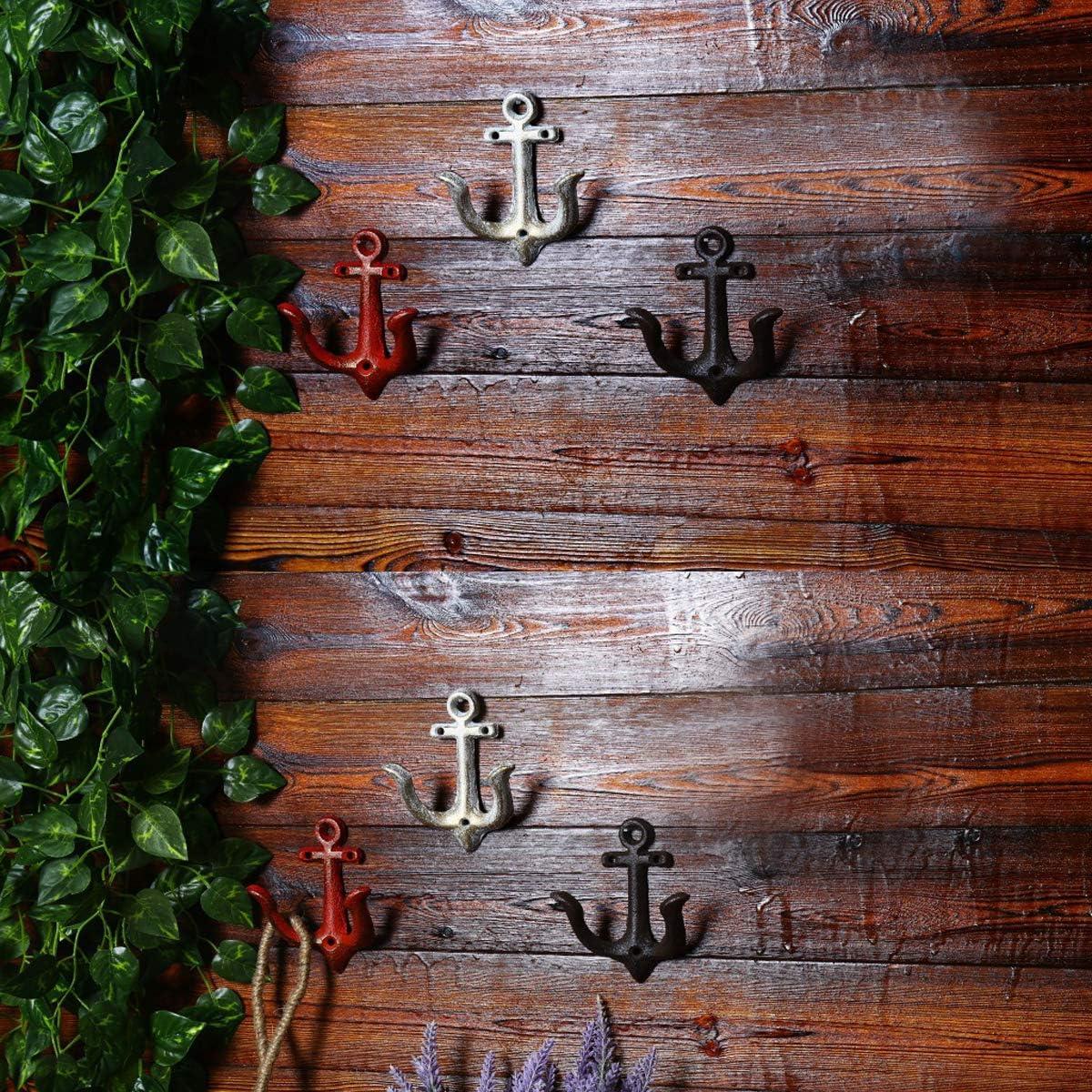 4er Set TentHome 4er-Set Maritime Dekoration Garderobe Antik Gusseisen Wandhaken Kleiderhaken Garderobenhaken Anker Doppelhaken Wandgarderobe Vintage Garten Haken