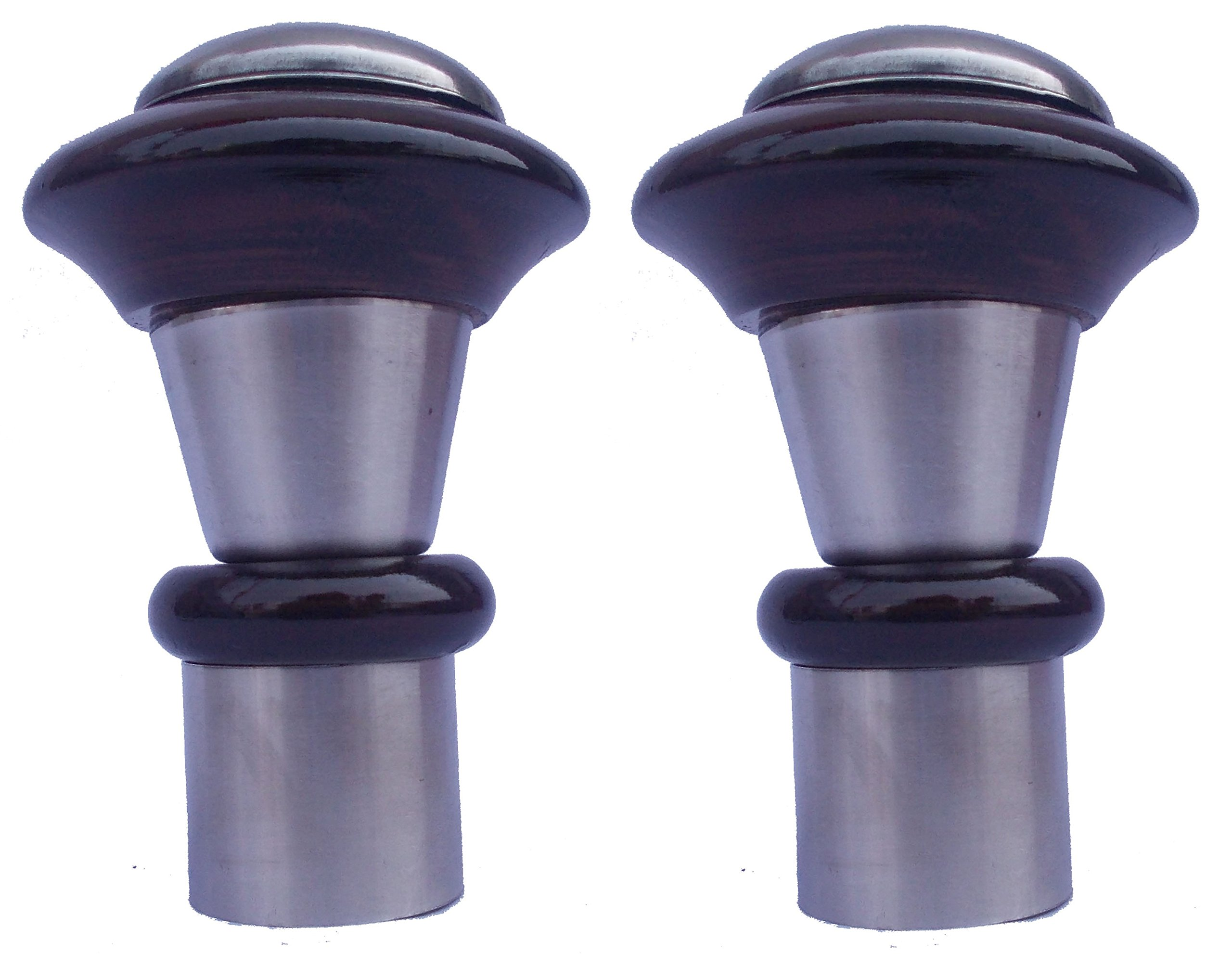 2 x Stainless Steel Wood Curtain Rod Ends Designer Finials Caps
