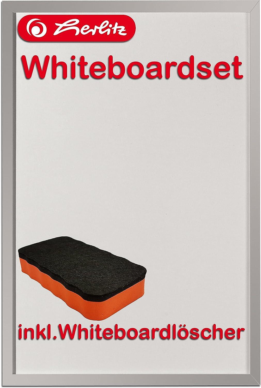 Herlitz 10524627 Whiteboard und Magnettafel (silbernen Holzrahmen ...