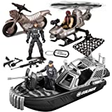 JOYIN 9 Pcs Combat Boat and Military Vehicle Toys for Pretend Play Set, Imaginative Play, Classroom Prizes, Rescue…