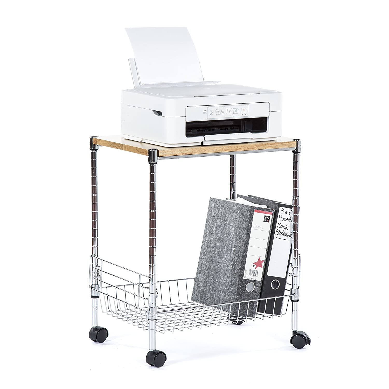 Universal Chrome Trolley - Home Office, Workplace Storage System 610mm H x 500mm W x 360mm D - Free Next Day Delivery* Racking Solutions
