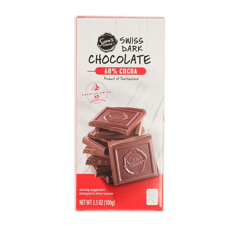 Sam's Choice Chocolate Bar, Prime Swiss Sweets, Organic, Natural, 3.5 OZ, 1 PC (Dark 60% Cocoa)