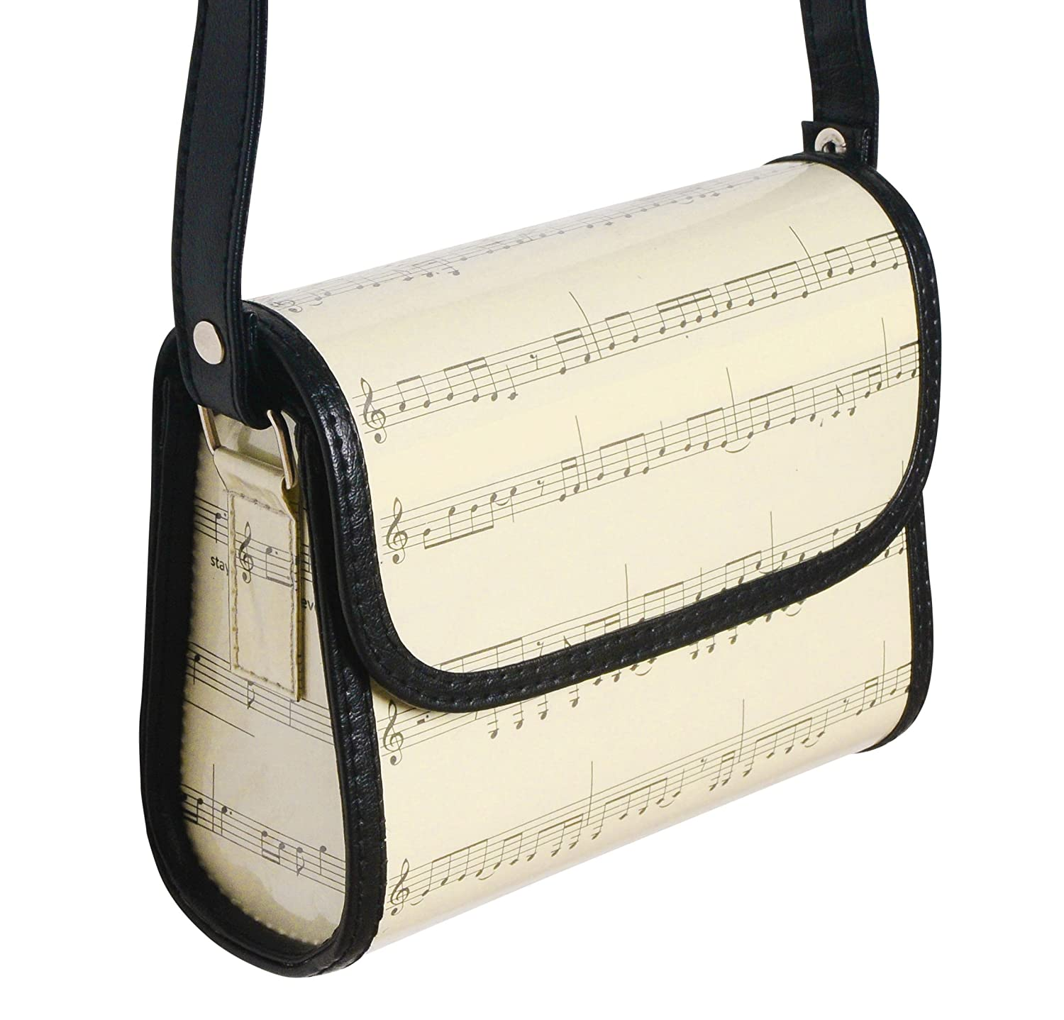 Small crossbody made from music sheets - FREE SHIPPING, upcycled style eco friendly vegan recycled of reclaimed materials repurposed bag gift gifts for musician violinist pianist musical scores clef