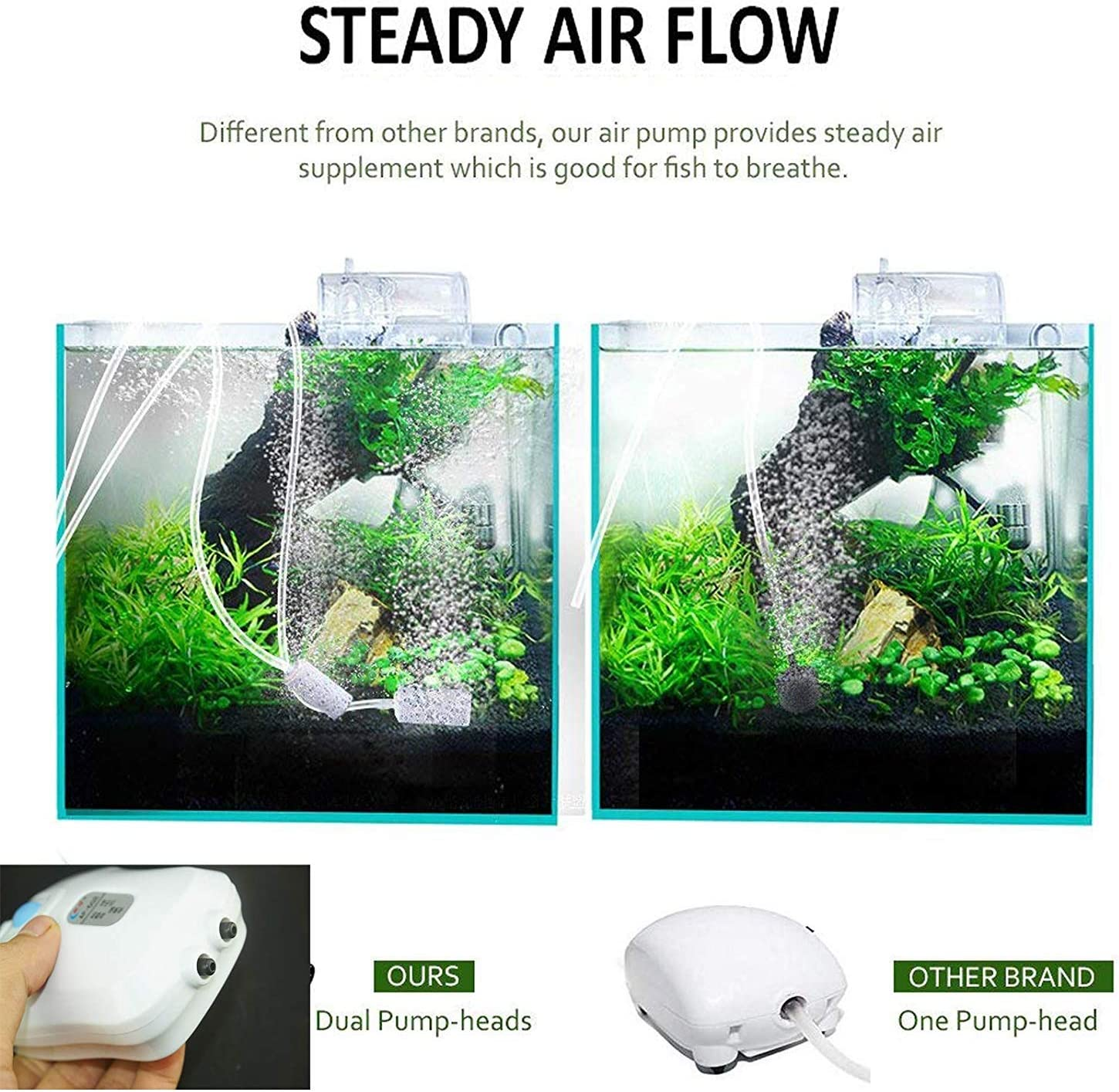 Pmsanzay Ac//dc Aquarium Air Pump with Dual Outlet Adjustable Air Valve Support USB Interface Rechargeable Battery Ultra Silent Oxygen Air Pump with Accessories Air Stones Silicone Tube Check Valves