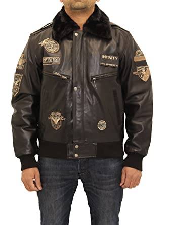 A to Z Leather Bombardero Hombre A-2 Insignias Pilot Chaqueta de Cuero Desmontable Collar