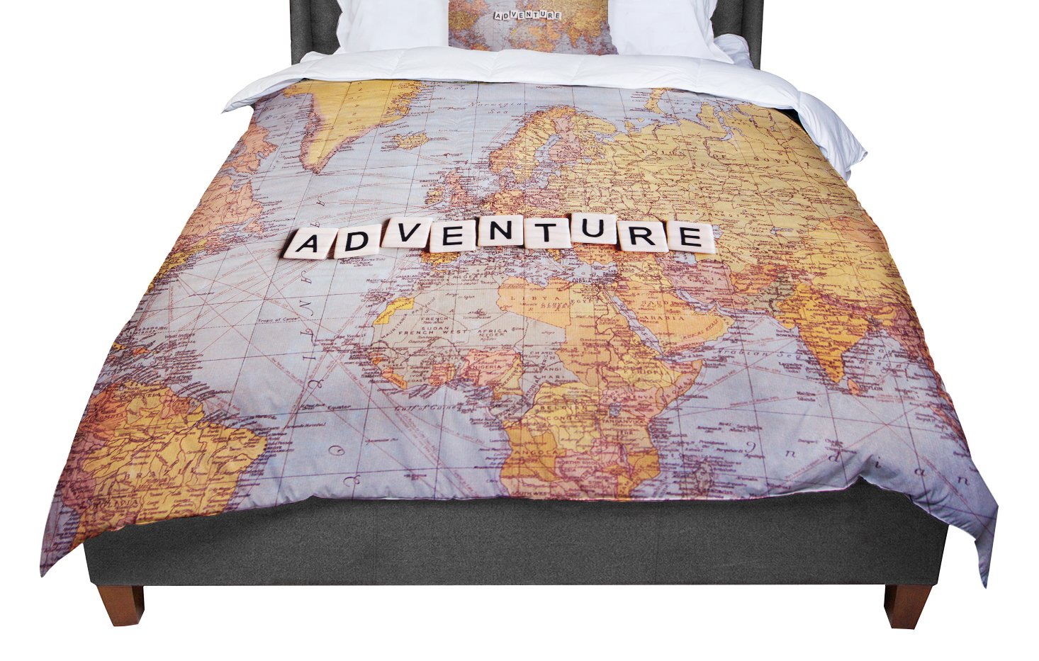 KESS InHouse Sylvia Cook 'Adventure Map' World Twin Comforter, 68' X 88'