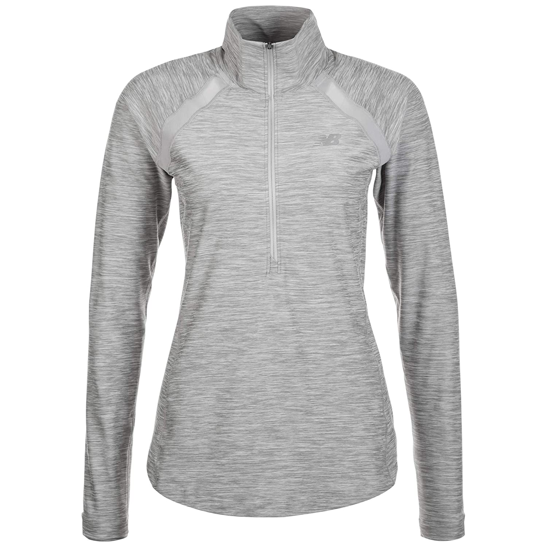 New Balance Damen Anticipate Half-Zip Laufbekleidung Longsleeve Hellgrau - Weiß L