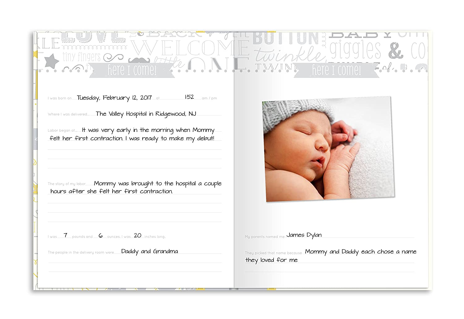 Little Blossoms by Pearhead Vintage Wordplay Baby Five Year Memory Book with an Included Clean-Touch Ink Pad to Create Babys Handprint or Footprint Blue
