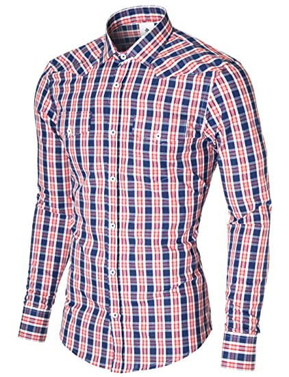 99d5ede48 MODERNO Mens Check Dress Shirts Slim Fit