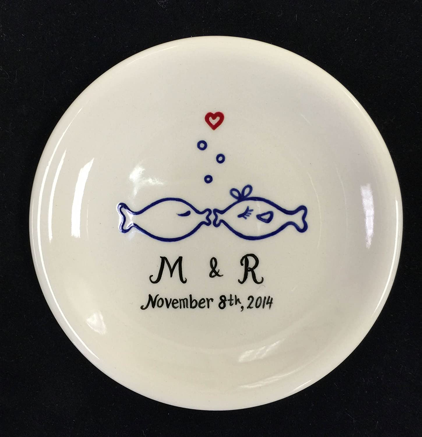 kissing fishes Ring dish, Engagement gift, Wedding gift , Holiday gift, ring holder
