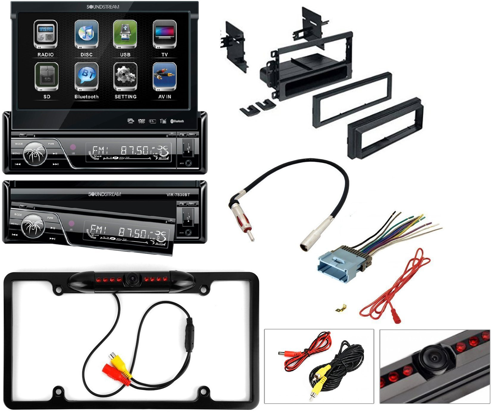 Soundstream VIR-7830B Single-Din Bluetooth Car Stereo DVD Player with 7-Inch LCD Touchscreen Car Stereo Dash Install Mounting Kit Wire Harness Radio Antenna + Cache Nightvision Camera by CACHE, SOUNDSTREAM, AMERICAN INTERNATIONAL, METRA