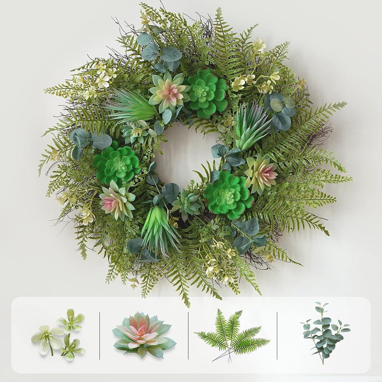 Soomeir Front Door Wreath, Artificial Succulent Wreath for Front Door Outside, Home Garden Party Wedding Decor