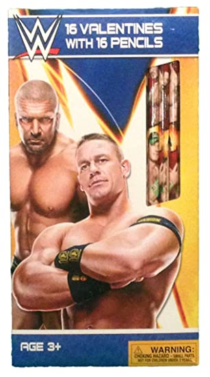 Wwe Wrestling Valentine Bundle 16 Cards With 16 Pencils By Paper