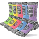 YUEDGE Women's 5 Pairs Cotton Cushion Crew Performance Sports Athletic Workout Training Socks