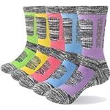 YUEDGE 5 Pairs Women's Multi Performance Cotton Cushion Crew Sports Outdoor Athletic Walking Hiking Socks