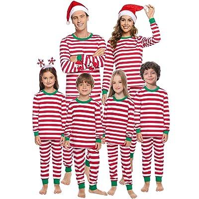 Aibrou Family Matching Christmas Pajamas Set Holiday Sleepwear Striped Pjs for Women/Men/Boys/Girls at Amazon Women's Clothing store