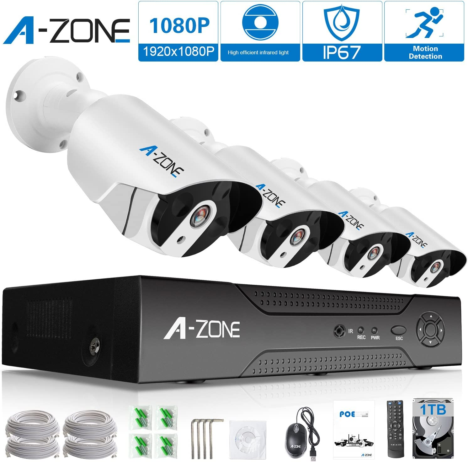 Security Camera System PoE – A-ZONE 4CH 1080P Bullet IP PoE System, 4 Outdoor Indoor 3.6mm Fixed Lens 2.0 Megapixel IP67 Waterproof Cameras,Smart Motion Detection, Free Remote View, 1TB Hard Drive
