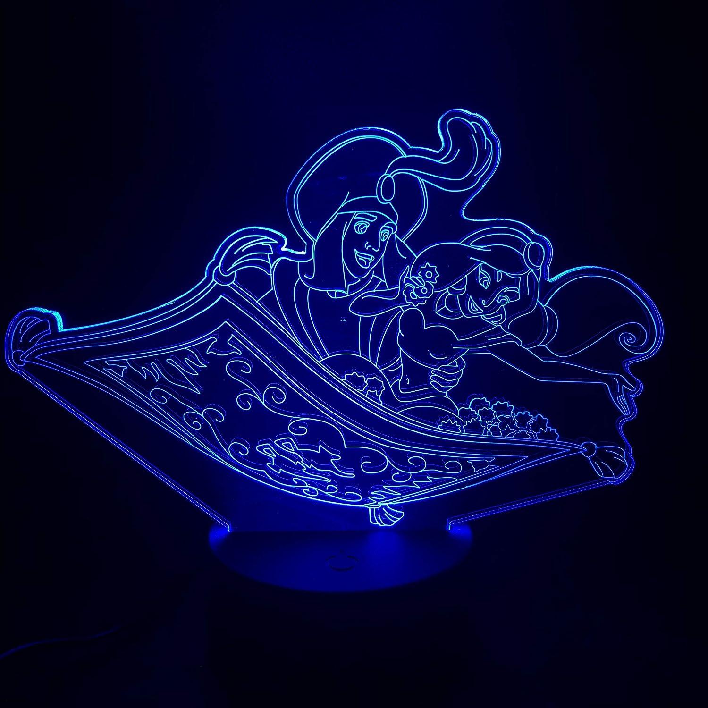 Anime Rapunzel Peine Pelo, Luz de noche, ilusión 3D luz de ...