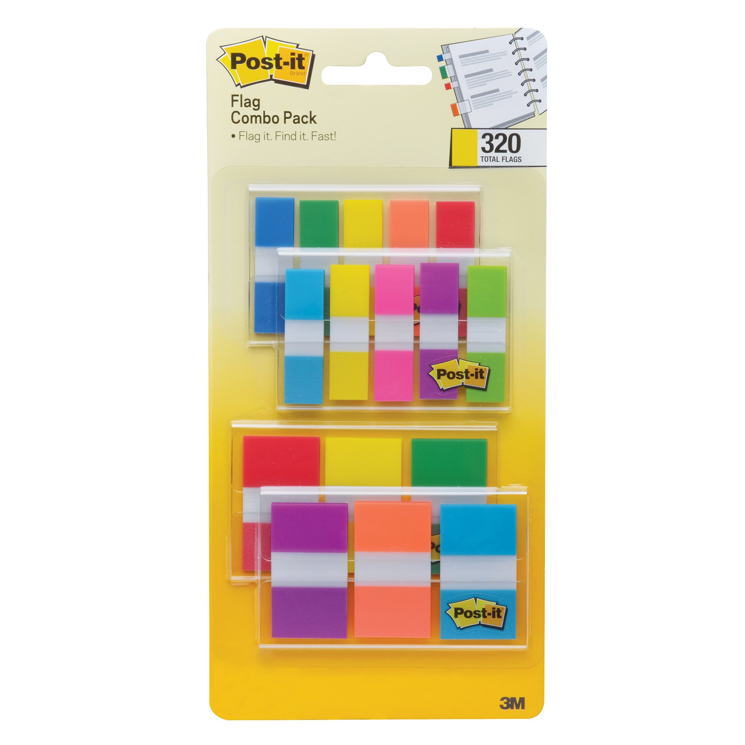 Post-it Flags Assorted Color Combo Pack, 1-inch Wide and .5-inch Wide Flags PHL92, 2-Pack