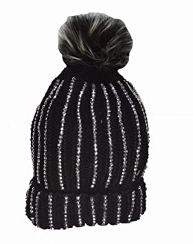 eb89cdfd06e KGM Accessories Luxury Knitted Diamante bobble hat with Faux fur pom pom  Black