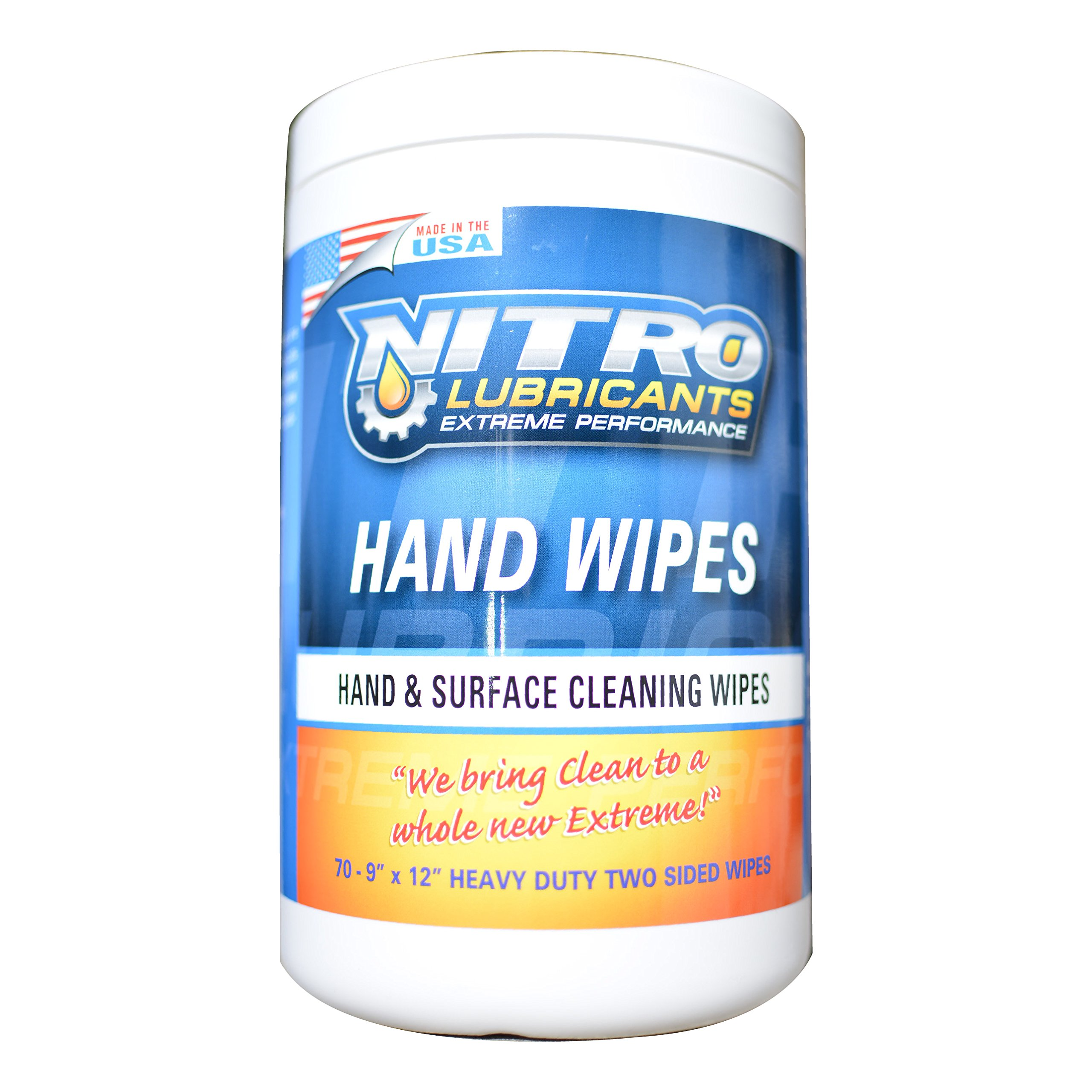 Nitro Lubricants Hand Sanitizer Wipes - Disinfecting Hand Cleaning Wipes - Tub of Hand Cleansing Wipes - Wet Towels for Shop and Home - Heavy Duty Hand Cleaner Towel Sanitizer Wipes in Dispenser Tub by Nitro Lubricants (Image #1)