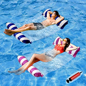 Summer Swimming Pool Inflation Floating Bed Float Pool Lounge Floating Chair Float Recliner Water Toy for Men Women Swimming Pool Floating Hammock Inflatable Floating Raft