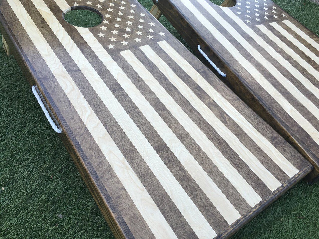 Stained American Flag Cornhole Board Set
