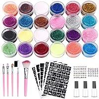 Emooqi Kit de Tatuajes Temporales, 24 Colores Tatuaje de Brillo para el Cuerpo Brillos de Tatuaje,con 24 Brillos,143 Plantillas de Tatuaje,5 Pinceles, 3 Pegamentos,62 Diamante de imitación