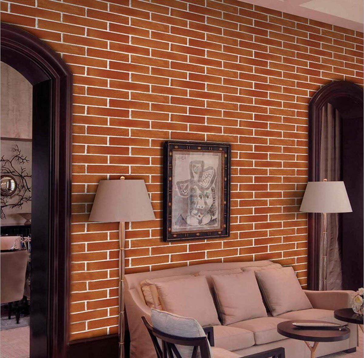 500cm FENTIS Papier Peint Adh/ésif Auto-Collant D/écoratif Wallpaper Sticker Repositionnable Rouge Brique D/écoration Maison Salon Cuisine Panneau DIY Mousse Imperm/éable Moderne 45