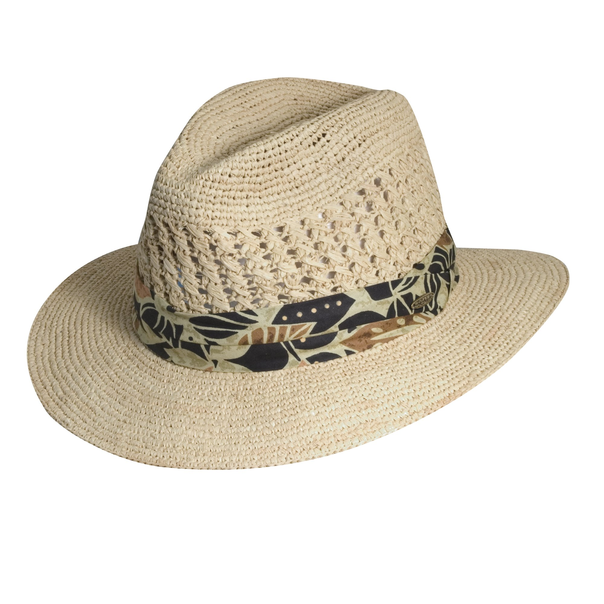 Scala Fine Organic Crocheted Raffia Safari with Print Sun Hat (L/XL, Black)