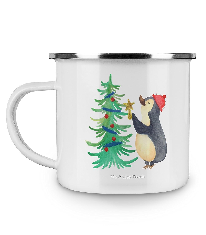 Outdoor Tasse Farbe Wei/ß Camping Emaille Tasse Pinguin Weihnachtsbaum Mr /& Mrs Panda Camping