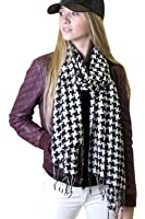 Anika Dali Classic Houndstooth Pattern Scarf, Black/White, Twisted Tassels