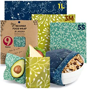 Reusable Beeswax Wraps Assorted 9 Packs - Eco-Friendly Reusable Food Wraps, Biodegradable, Zero Waste, Organic, Sustainable Bees Wax, Plastic-Free Food Storage, 5S, 3M, 1L w/Curves Pattern