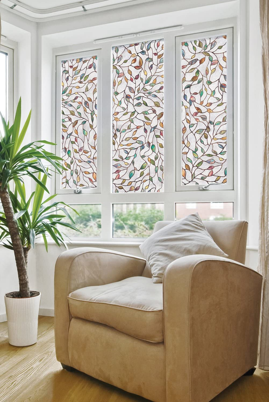 decorative windows for houses glasses to add.htm amazon com artscape 02 3021 new leaf window film  multi color  artscape 02 3021 new leaf window film
