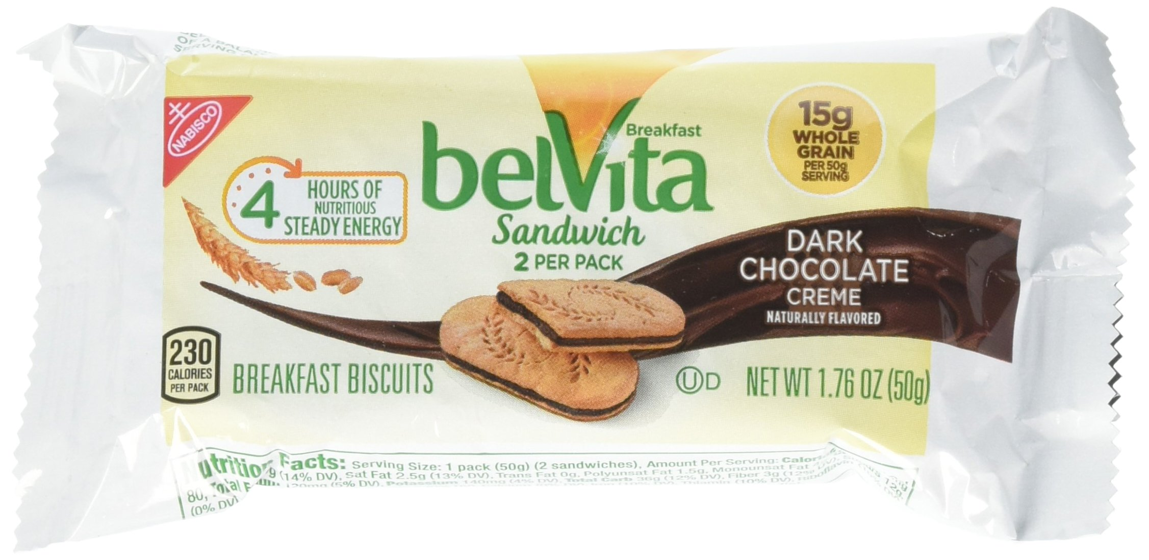 belVita Sandwich Biscuits, Dark Chocolate, 5 Count Box, 8.8 Ounce (Pack of 6)