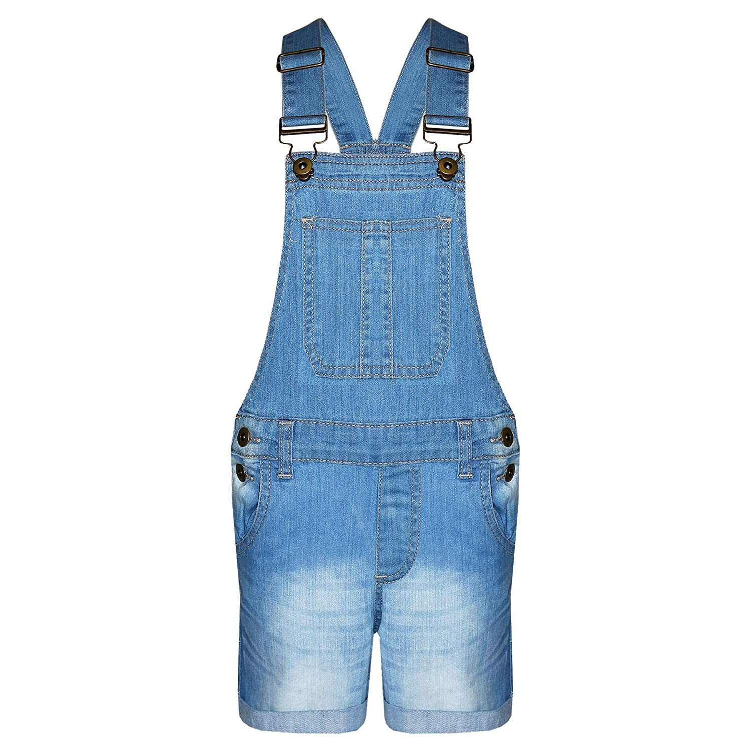 A2Z 4 Kids®® Girls Denim Stretch Dungaree Shorts Jumpsuit Playsuit All in One