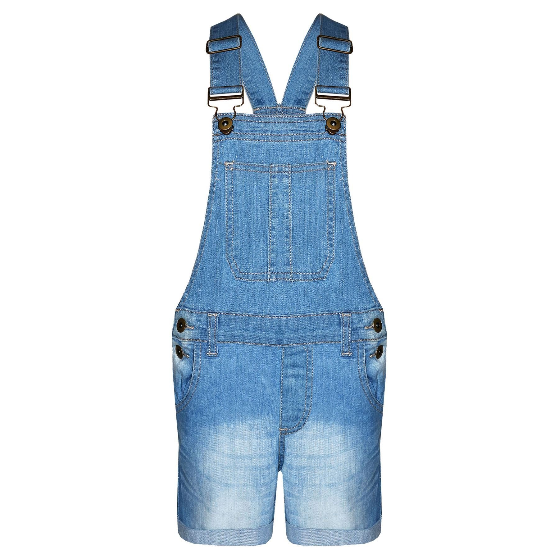 A2Z 4 Kids Girls Denim Stretch Dungaree Shorts Jumpsuit Playsuit All in One