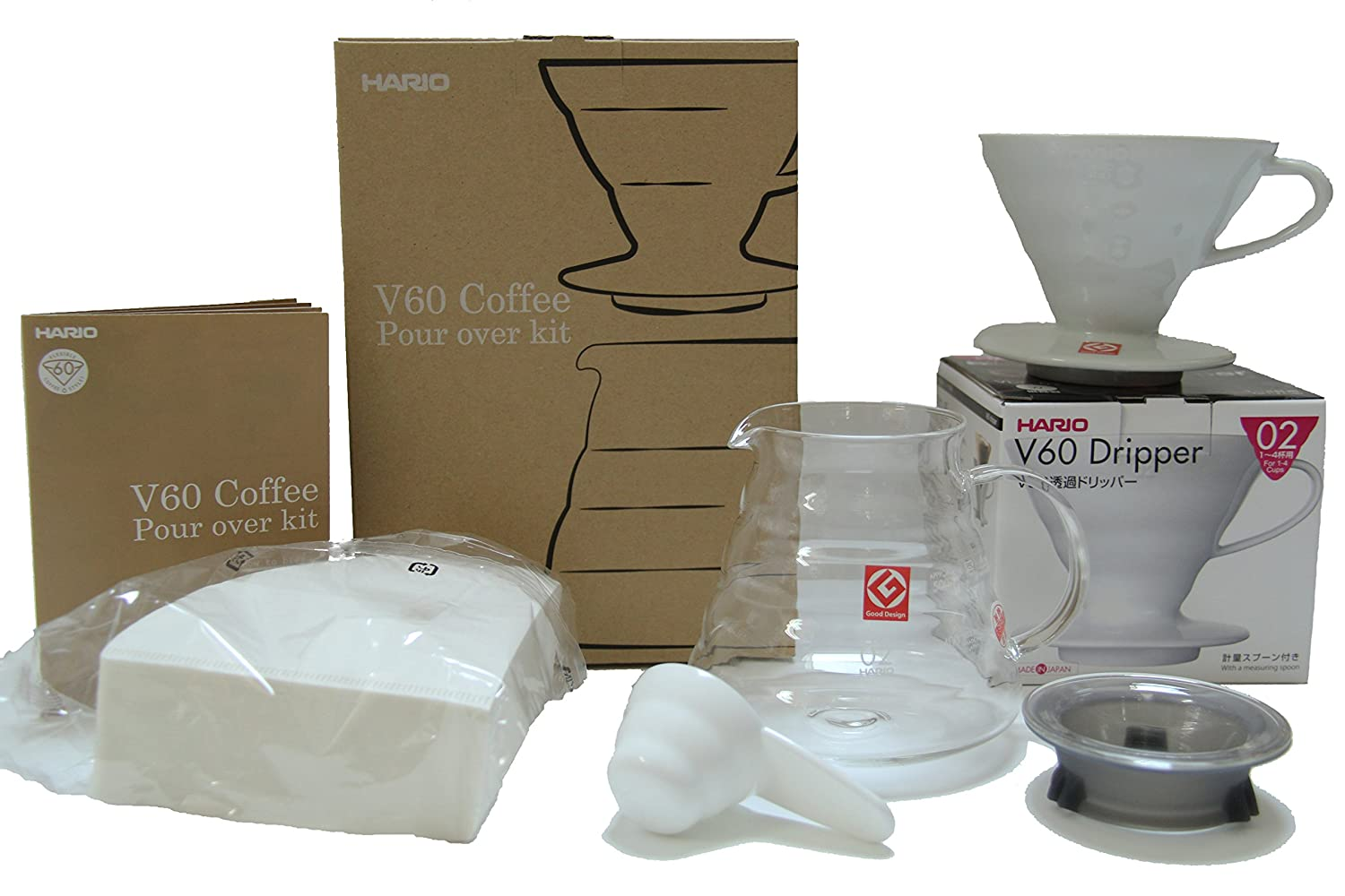 Hario V60 Coffee Pour Over Kit Bundle - Comes with Ceramic Dripper, Measuring Spoon, Glass Pot, and Package of 100 Filters