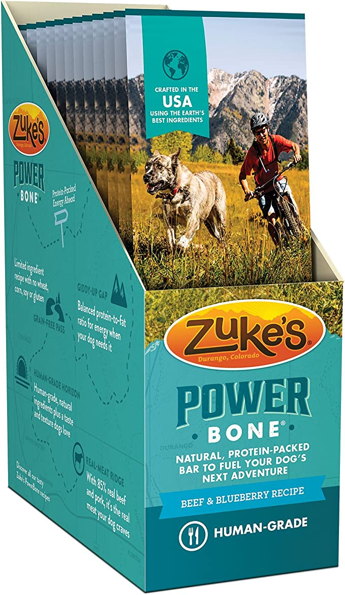 Power Bone Beef & Blueberry Recipe Dog Treat Single Serve Display Box (12 Count)