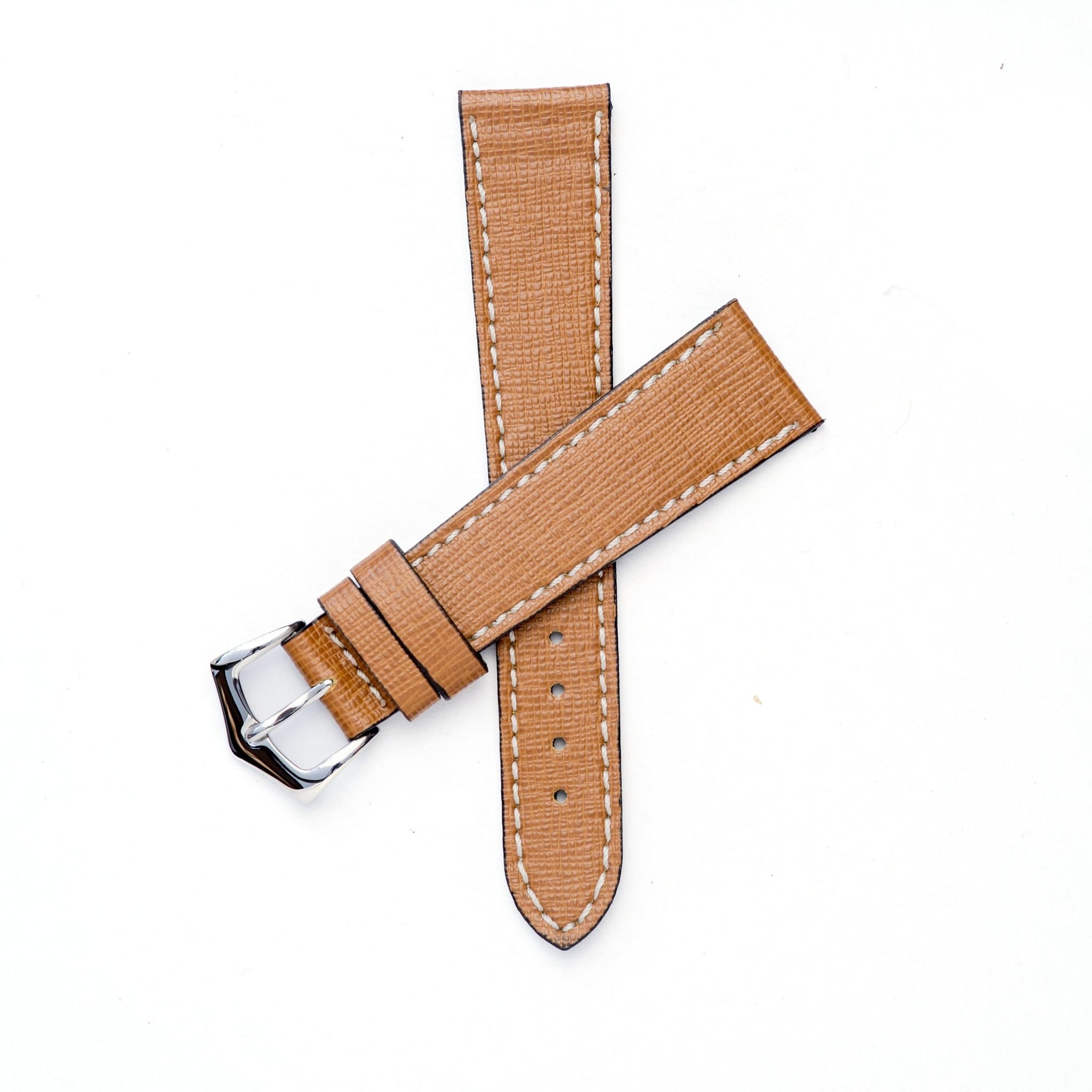 Brown Saffiano Leather Watch Strap Stainless Steel Polished & Yellow Gold Polished Buckle 20mm