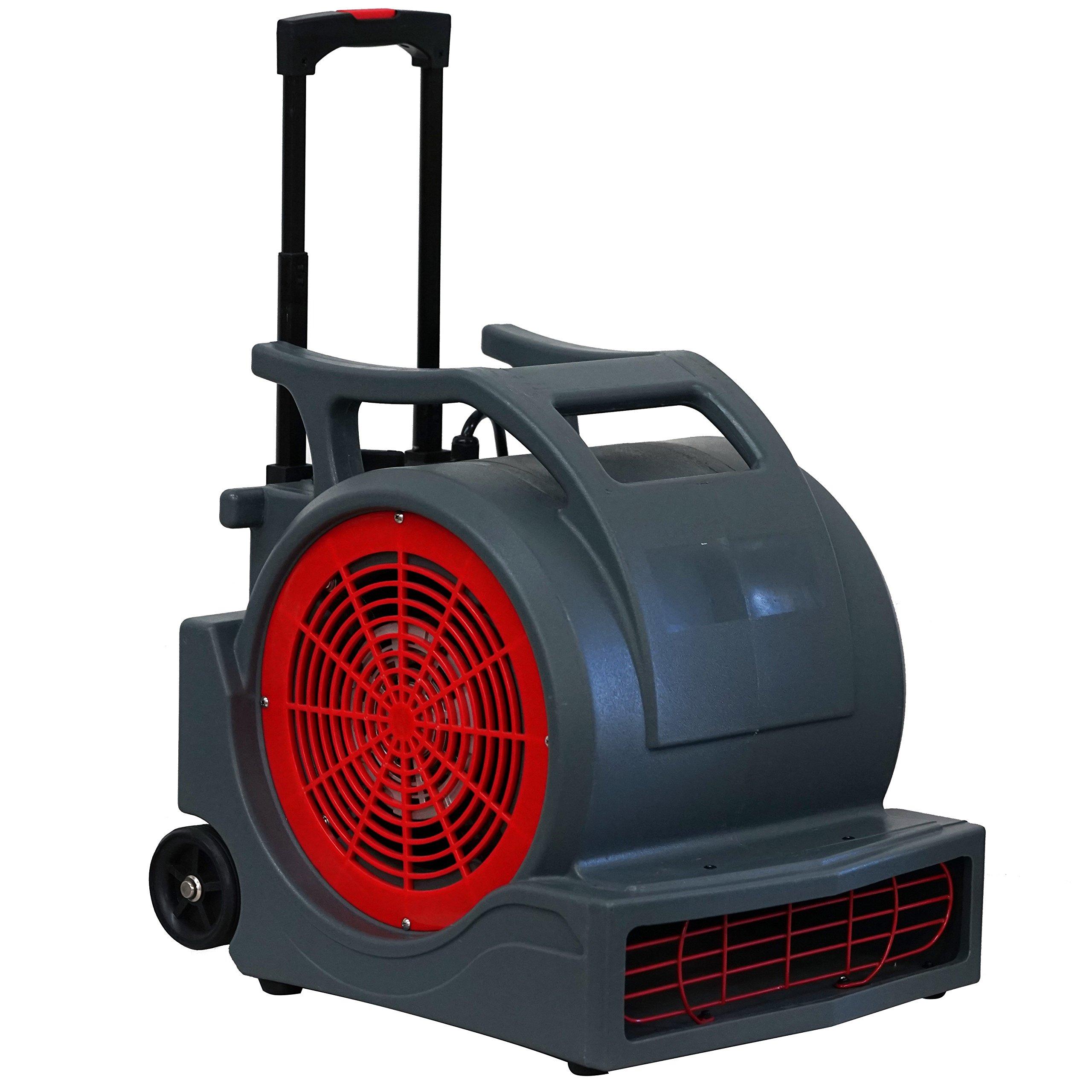 MOUNTO 3-Speed 1Hp 4000 Plus CFMfm Monster Air Mover Floor Carpet Dryers with Handle Wheelkit, Grey