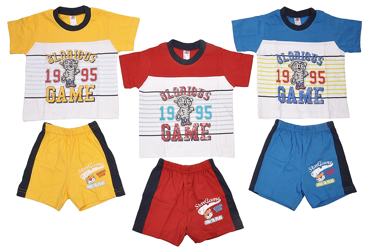 01fb08d1cf2d4 Zero Boy's Cotton Half Sleeve 3 T-Shirts & 3 Half-Pants Clothing ...